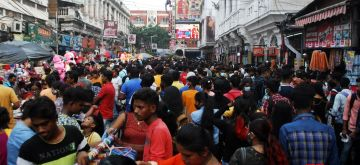 Kolkata:Shoppers gathered in New Market area for last minutes shopping ahead of Durga Puja in Kolkata, on Sunday, Oct. 10,2021.(Photo: Kuntal Chakrabarty/IANS)