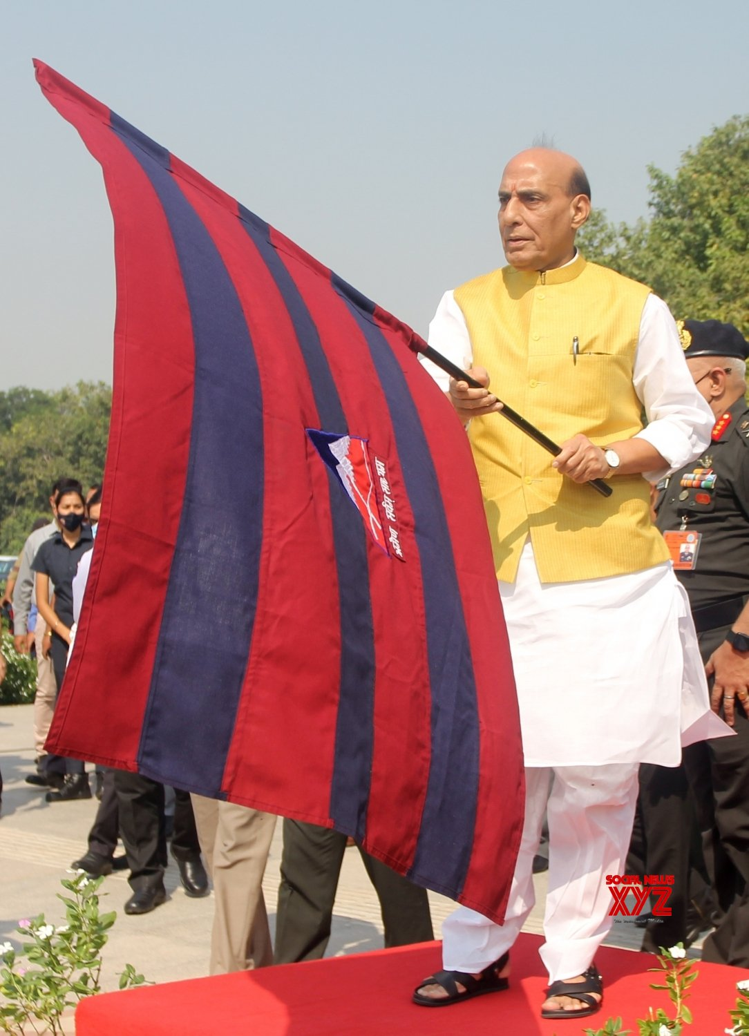 New Delhi: Union Defence Minister Rajnath Singh Flags off Border Road Organization(BRO) motorcycle expedition #Gallery