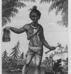 An Indian warrior entering his wigwam with a scalp