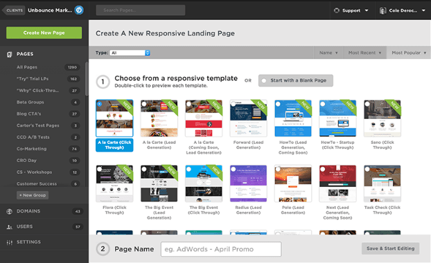 Unbounce Dashboard
