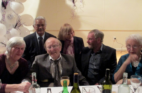 Merv Hancock, founding president and well-known Palmerston North personality, with life members left to right, Mary Nash, Turoa Haronga, Kara Coombs, Buster Curson and Jackie Sayers,