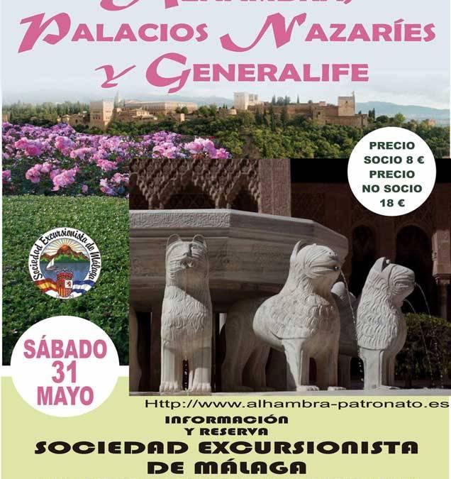 Excursión a Granada: Alhambra, Palacios Nazaries y Generalife, sábado 31 de Mayo.