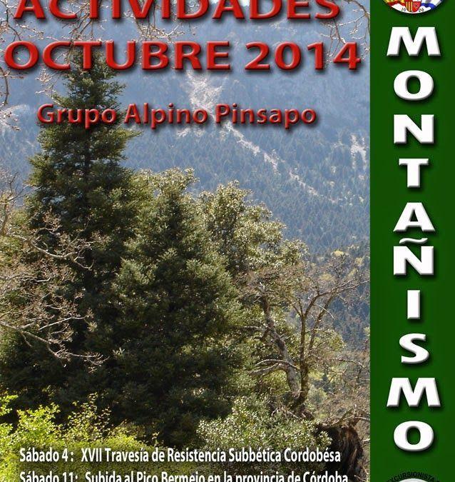 Porgrama actividades Montaña, octubre 2014