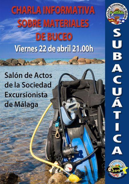 Charla informativa sobre materiales de Buceo, viernes 22 de abril a las 21.00h