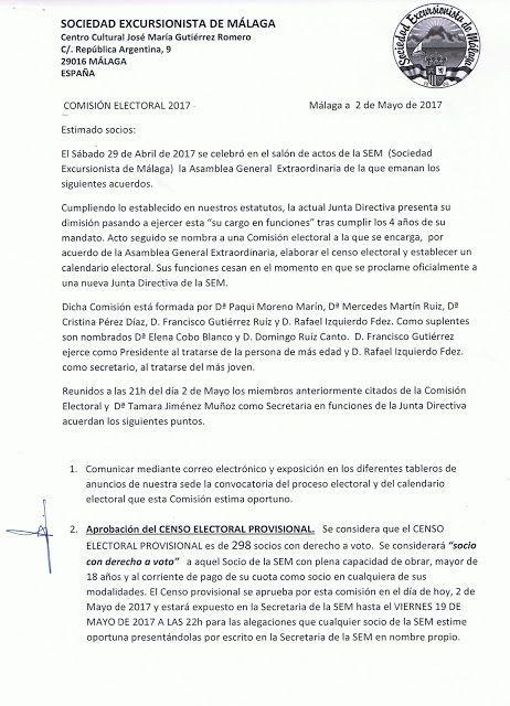 Calendario electoral SEM 2017