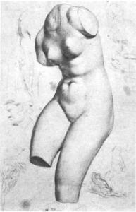 C0074 Dessin d'un moulage en plâtre torse de femme c60