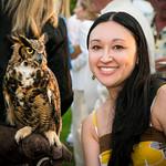 "Pam Deutchman and ""Kalala"" aka ""Meep"" the Great Horned Owl"