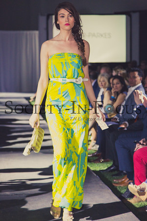 Runway Model in Yellow and Green Dress