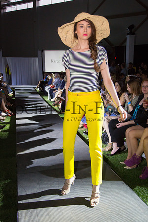 Runway Model in Striped Shirt and Yellow Pants
