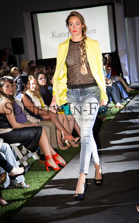 Runway Model in Jeans and Yellow Jacket