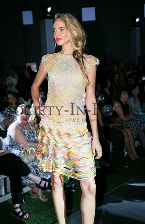 Runway Model in Multicolor Dress