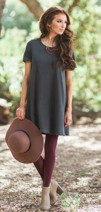 T-shirt dresses are summer clothing items you can still wear in the winter!