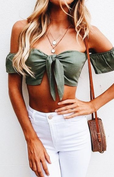 The tie front crop top is one of our favorite outfits of the summer!