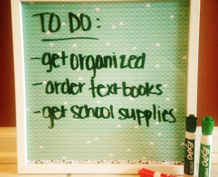 Dry erase boards are an easy way to keep track of your to-do or grocery list, and they're perfect for college students! Try this easy DIY dry erase board!