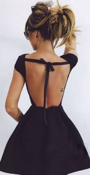 I love this backless black dress!