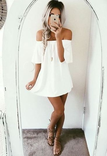 this white off the shoulder summer dress is perfect!