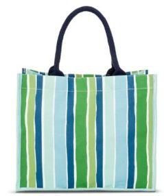 Target Womens Vertical Strip COated Jute Tote Handbag