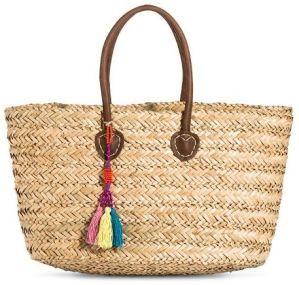 Target Womens Woven Straw Tote Handbag with Fringe Tassel