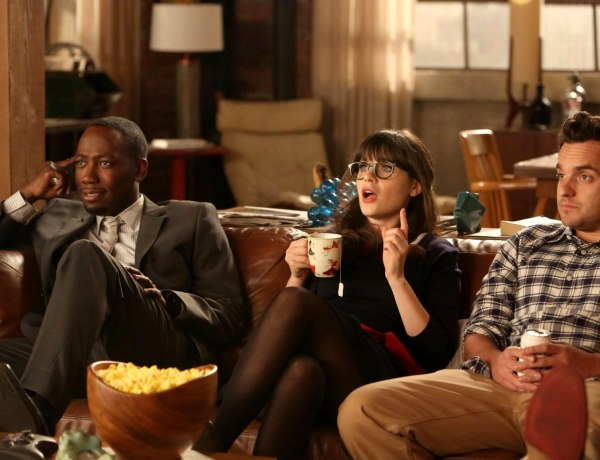 """NEW GIRL:  L-R: Winston (Lamorne Morris), Jess (Zooey Deschanel) and Nick (Jake Johnson) listen as Schmidt tells them of his plans for their big party celebrating Nick and Schmidt's tenth anniversary of living together in the """"TinFinity"""" episode of NEW GIRL airing Tuesday, Feb. 26 (9:00-9:30 PM ET/PT) on FOX. ©2013 Fox Broadcasting Co.  Cr: Patrick McElhenney/FOX"""