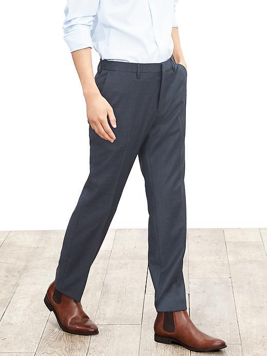 Modern Slim Blue Wool Dress Pant