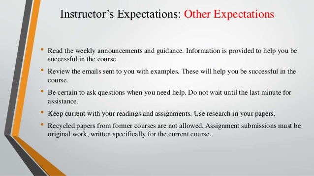 example of course expectations