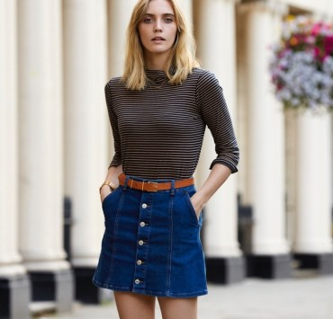 7 Ways to Style Your Denim Skirt All Year Long