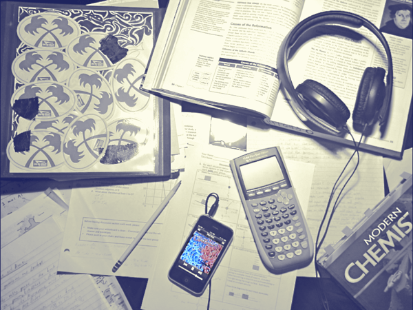 studying supplies with music