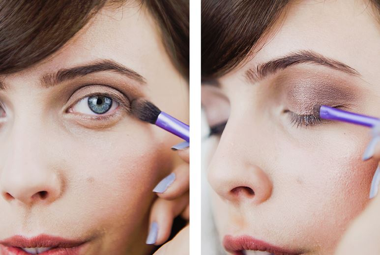 Adding a little sparkle to your eye can also make you look pretty without a heavy face.