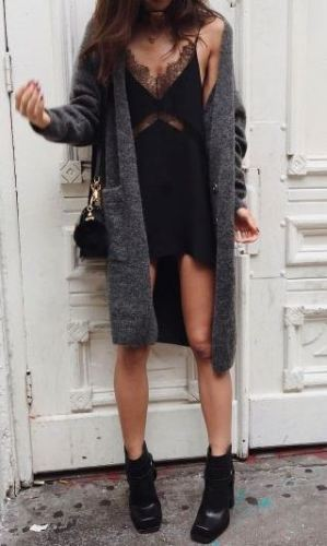 This slip dress outfit is so perfect for the fall or winter and so cute!
