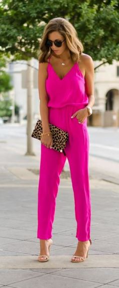 I love this bright pink neon jumpsuit!