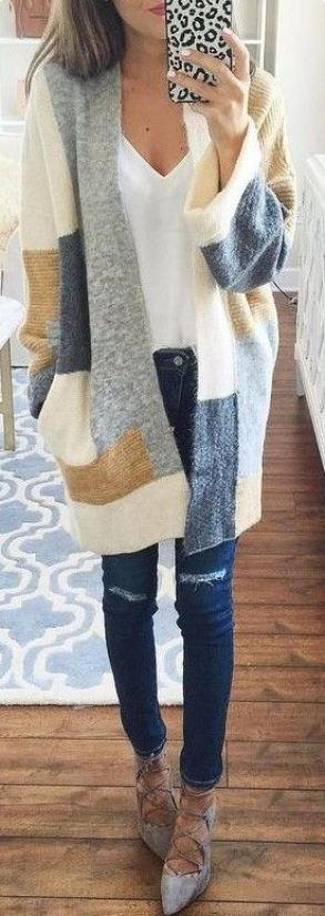 This patchwork cardigan is perfect for Thanksgiving paired with suede ballet flats!