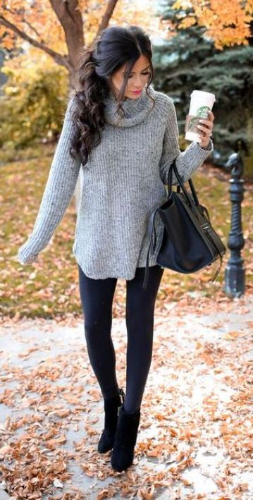 This grey turtleneck paired with leggings is great for Thanksgiving!