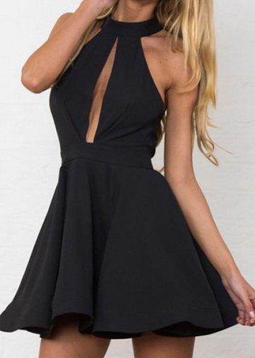 Stand Collar Backless Sleeveless Dress