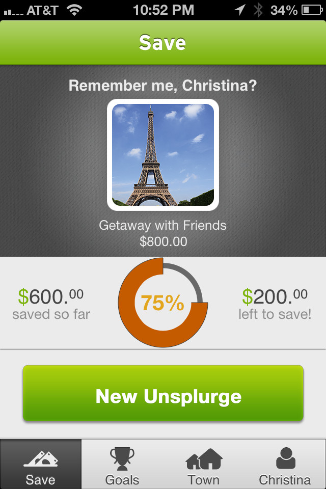 Ge the Unsplurge app to help with your saving
