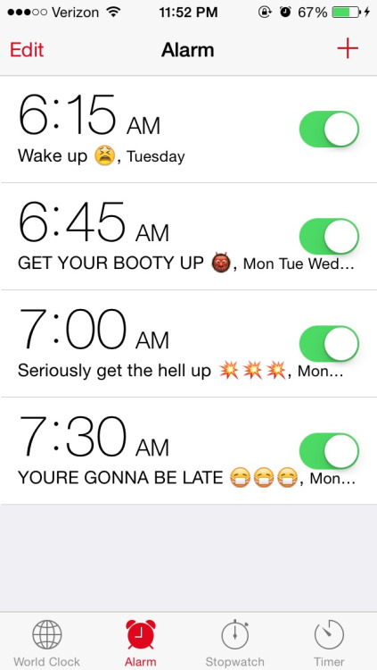 have alarms set