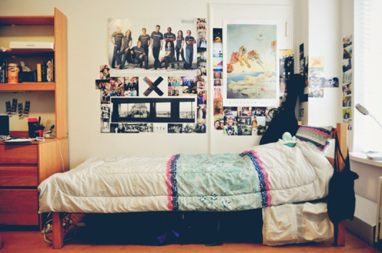 cute dorm set up