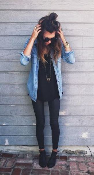 I love this chambray shirt outfit!