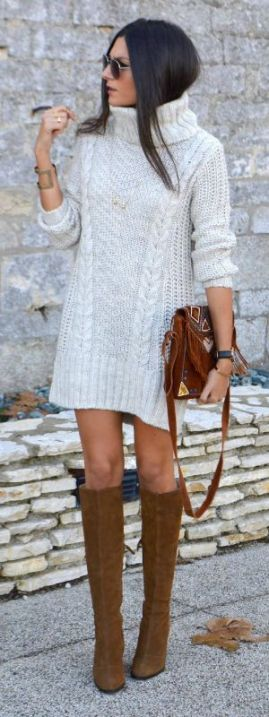A grey sweater dress and tall boots is the perfect fall look!