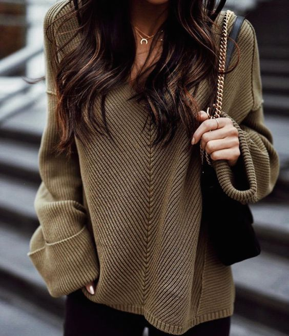 Fall sweaters - olive knit