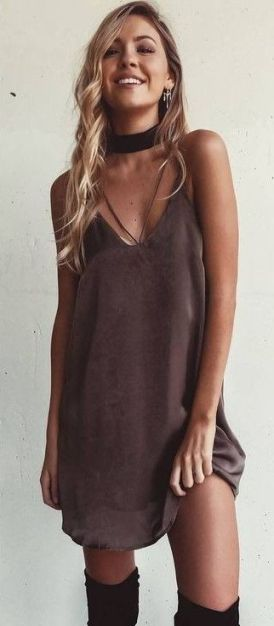 This satin slip dress is so cute for fall!