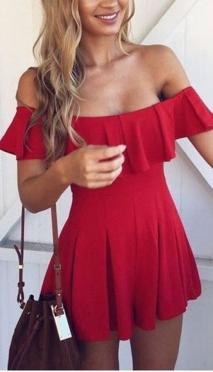I love this red off the shoulder dress!
