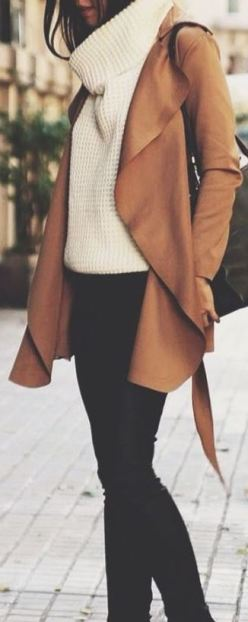I love this ivory cableknit sweater and this tan duster together