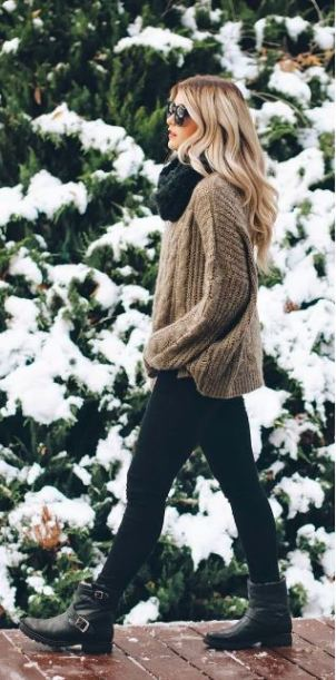 This tan cableknit sweater is comfy and cute with the leggings and combat boots