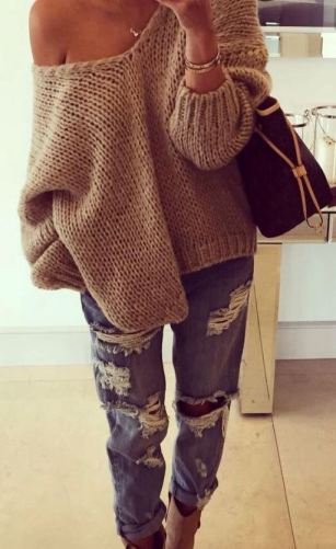 Pair an off the shoulder sweater with boyfriend jeans for a perfect fall outfit!