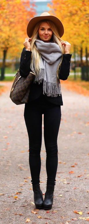 Black pants, gray scarf and floppy hat make for a perfect fall outfit!
