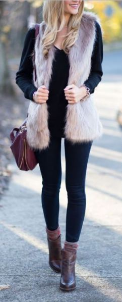 This beige fur vest is so cute for the winter
