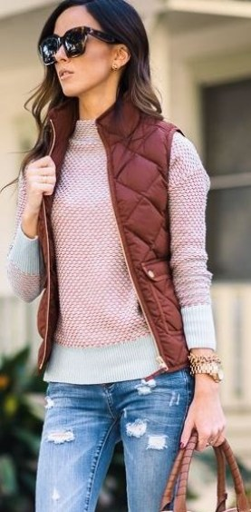I love this burgundy quilted vest with this pink sweater underneath