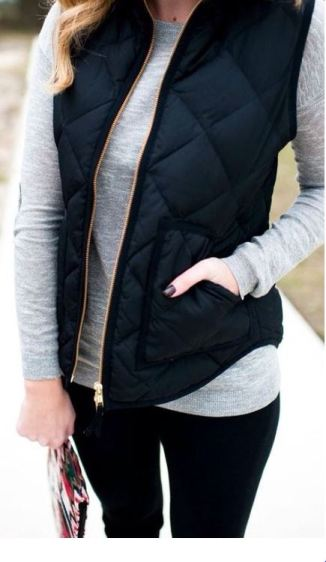 this navy quilted vest is perfect for winter