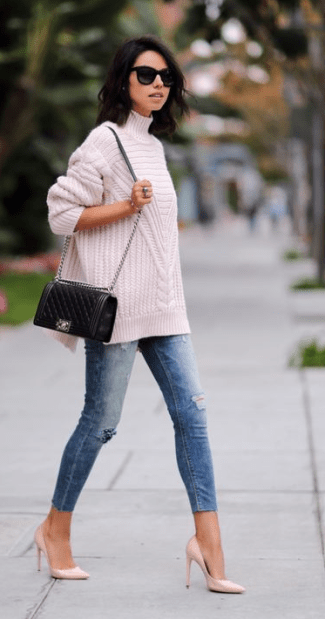 this light pink sweater looks so cozy and cute for fall when accessorized with sky high patent pumps!