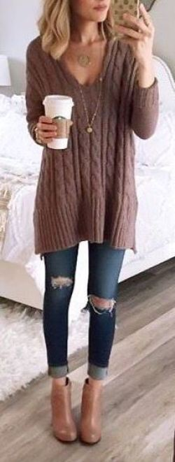 This cableknit sweater is so cute with these ripped jeans and booties